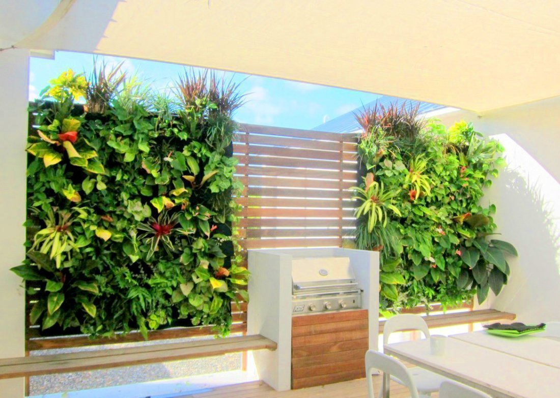 Florafelt vertical garden planters create a tropical paradise for this backyard oasis in Doral, Florida.