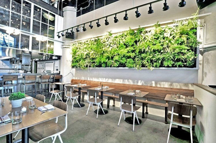 Florafelt Pockets vertical garden by Woodland Landscapes for Atrium Restaurant in DUMBO, Brooklyn.
