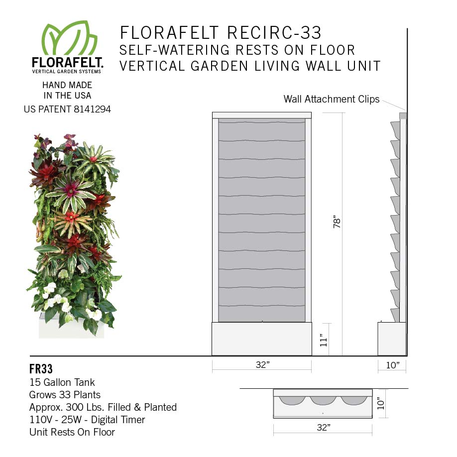 Florafelt Recirc 33-Pocket | Wall Mounted