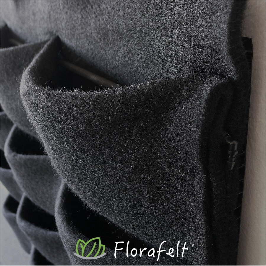 Florafelt® 12-Pocket Panel Vertical Garden Planter. Made in the USA from recycled materials. US Patent 8141294.