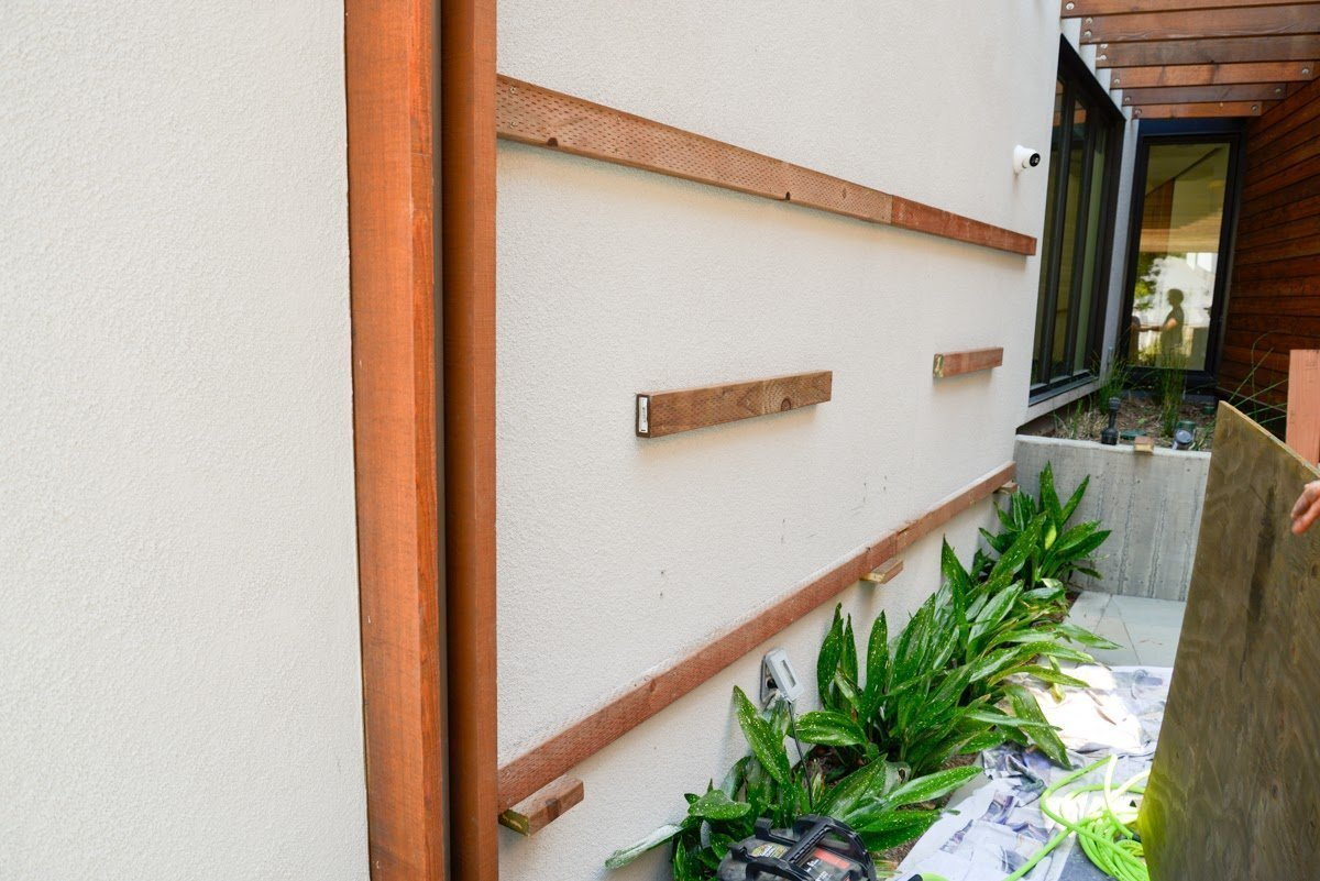 Florafelt Pocket Panel Vertical Garden Installation on Stucco